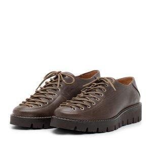 Pantofi casual dama cu siret pana in varf din piele naturala, Leofex- 194 Taupe Box