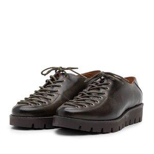 Pantofi cu siret pana in varf Leofex- 194 Verde inchis Box