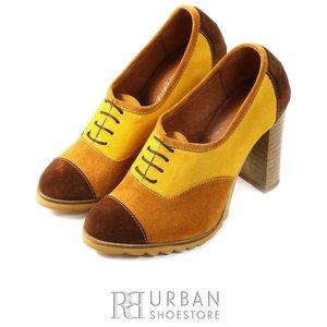 Pantofi  dama casual din piele intoarsa - 1001 maro-multicolor