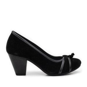Pantofi casual cu toc dama din piele naturala, Leofex - 476 Negru Velur