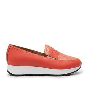 Pantofi casual  dama din piele naturala, Leofex - 100 Coral Serigrafiat