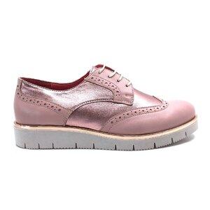 Pantofi dama casual din piele naturala, Leofex - 173 Roz Box cu Roz Sidef