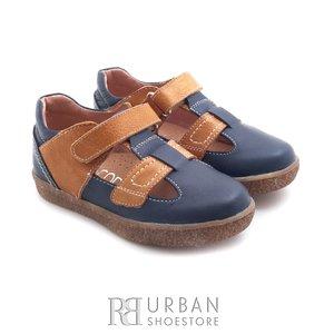 Pantofi copii din piele naturala – 120-1 albastru camel box
