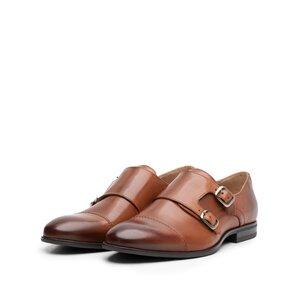 Pantofi eleganti barbati cu catarama din piele naturala, Leofex - 933 Cognac box