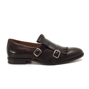 Pantofi  eleganti barbati, cu franjuri din piele naturala, Leofex - 586 maro box
