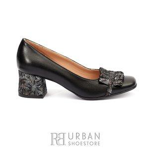 Pantofi eleganti dama cu franjuri din piele naturala - 1887 Negru Box