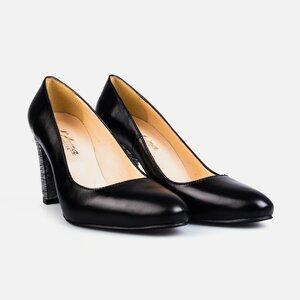 Pantofi  eleganti dama din piele naturala - 170 negru argintiu box