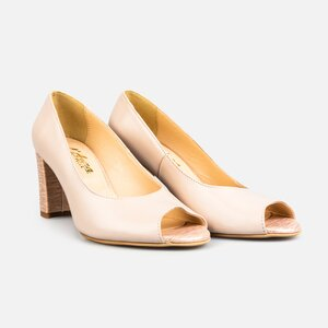 Pantofi  eleganti dama din piele naturala - 176 Roz+ Auriu Box