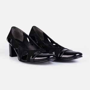 Pantofi  eleganti dama din piele naturala - 182 Negru lac velur