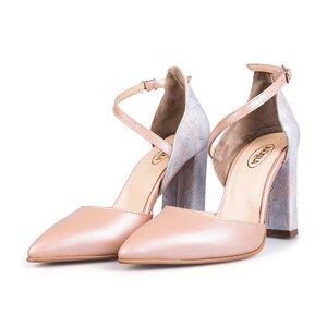 Pantofi eleganti dama din piele naturala - 1984 Nude box sidef