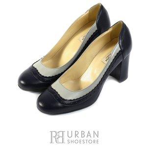 Pantofi eleganti dama din piele naturala  - 797-4 blue-bej