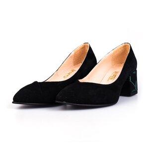 Pantofi eleganti dama din piele naturala  - 820 Negru Velur