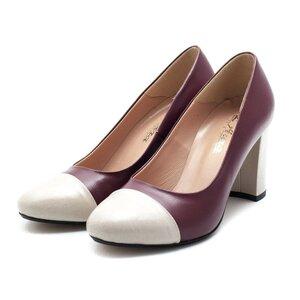Pantofi eleganti dama din piele naturala - F63 visiniu-crem box