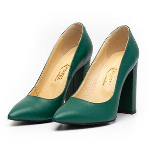 Pantofi eleganti dama din piele naturala, Leofex - 871 Verde box