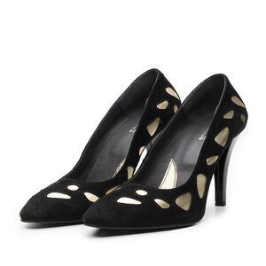 Pantofi eleganti din piele intoarsa - 092 negru-auriu