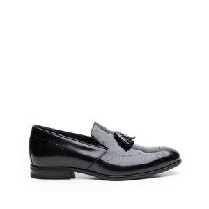 Pantofi eleganti barbati din piele naturala cu ciucuri, Leofex - 899 negru lucios