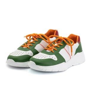 Pantofi sport barbati din piele naturala Leofex -519-1 Alb VerdeBox