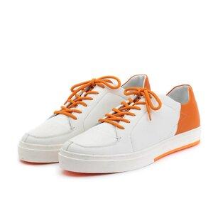Pantofi sport barbati din piele naturala, Leofex - 882 Alb cu Portocaliu Box