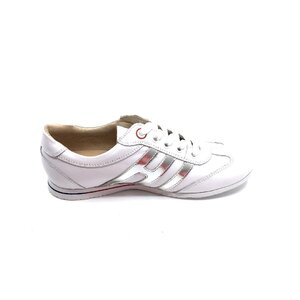 Pantofi sport dama din piele naturala, Leofex- 552-1 Alb + argintiu box