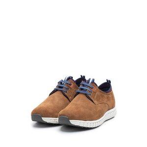Pantofi sport barbati din piele naturala, Leofex - 942 Cognac Velur