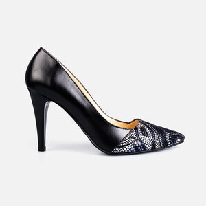 Pantofi stiletto dama din piele naturala - 173 Negru box print