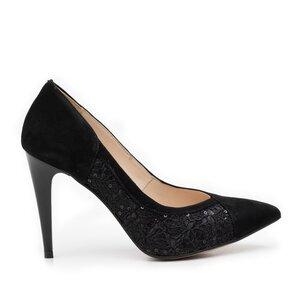 Pantofi stiletto dama din piele naturala - 597-14 negru velur