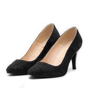 Pantofi stiletto dama din piele naturala, Leofex- 558 Negru D velur