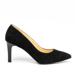 Pantofi stiletto dama din piele naturala,Leofex -872 Negru Velur