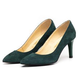 Pantofi stiletto dama din piele naturala,Leofex -872 Verde Velur