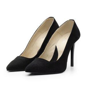 Pantofi stiletto dama din piele naturala velur - Mostra Stiletto negru velur