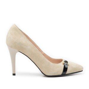 Pantofi stiletto din piele intoarsa - 942 bej