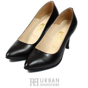 Pantofi stiletto din piele naturala - 558 negru