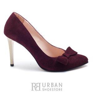 Pantofi stiletto din piele naturala - Giulio 2016-21 Bordo Velur