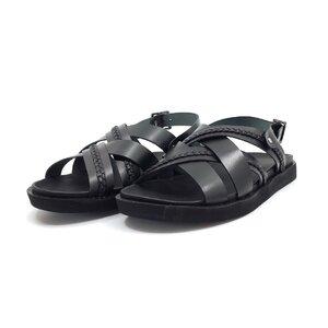 Sandale barbati din piele naturala, Leofex - 532 negru box