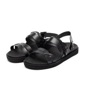 Sandale barbati din piele naturala, Leofex -  Mostra 532-1 negru box