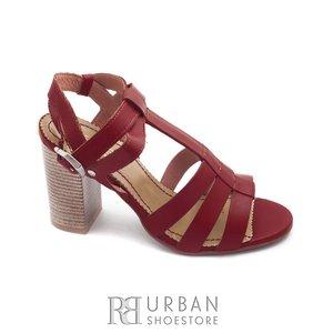 Sandale cu toc dama din piele naturala, Leofex - 035 rosu