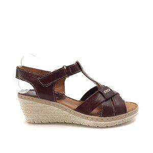 Sandale cu platforma dama din piele naturala,Leofex - 214 Bordo box
