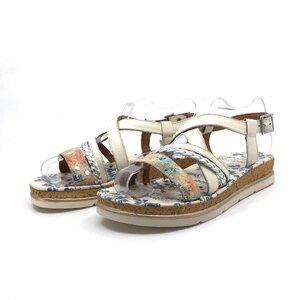 Sandale cu talpa groasa dama din piele naturala, Leofex - 491 Bej box