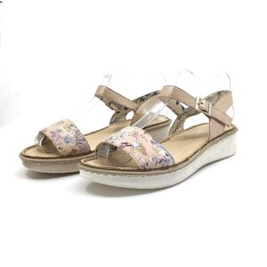 Sandale cu talpa joasa dama din piele naturala Leofex- 159-1 nude flori