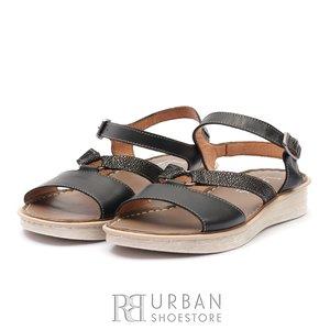 Sandale cu talpa joasa dama din piele naturala Leofex - 159 Negru Argintiu