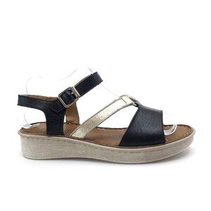 Sandale cu talpa joasa dama din piele naturala, Leofex- 159 Negru auriu