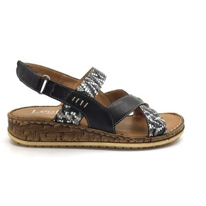 Sandale cu talpa joasa dama din piele naturala, Leofex - 212-1 Negru+gri box