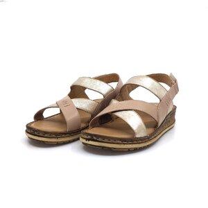 Sandale cu talpa joasa dama din piele naturala, Leofex - 212-1 Taupe argintiu box
