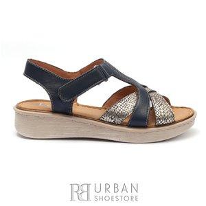 Sandale cu talpa joasa dama din piele naturala Leofex- 216 Blue Box