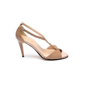 Sandale cu toc dama din piele naturala - 028/2 Nude lac