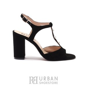 Sandale cu toc dama din piele naturala - 1010 Negru Velur