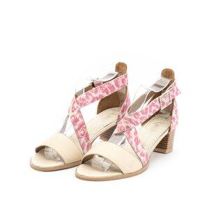 Sandale cu toc dama din piele naturala, Leofex - 139-1 bej roz box