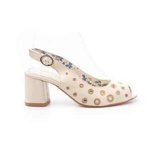 Sandale cu toc dama din piele naturala,Leofex-253-1 Bej Box Perforat