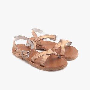 Sandale din piele naturala box, pentru copii – maya auriu