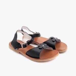 Sandale din piele naturala box, pentru copii – sarah negru box